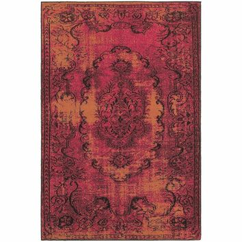 Revival Pink Yellow Oriental Overdyed Traditional Rug