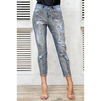 Sequin Hole Ripped Blue Jeans