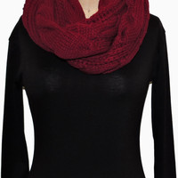 Burgundy Cable Knit Scarf