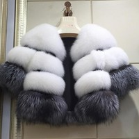 REROYFU Real Fox Fur Coat Natural Fur Jacket Women Luxurious Genuine Arctic Fox Fur Outerwear