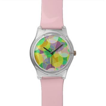 Stained glass geometric pattern wristwatches