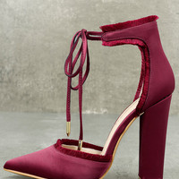 Amalia Wine Satin Lace-Up Heels