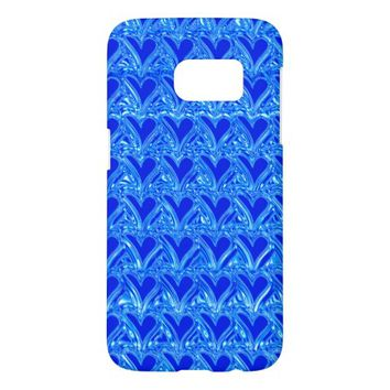 Frozen Icy Hearts Pattern in Cool Blue Samsung Galaxy S7 Case
