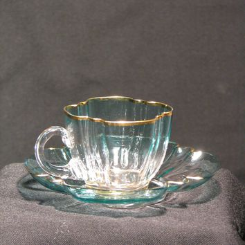 910243 Light Teal To Clear Demi Cup & Saucer W/Gold Rim, Both Cup &