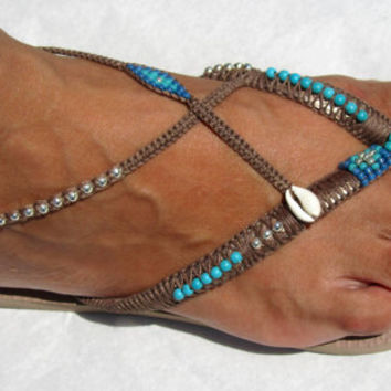 Turquoise Decorated Beaded Bohemian Flip Flop Sandals Thong Flats with Ankle Bracelet based on Rose Gold Havaianas - 100% Handmade.