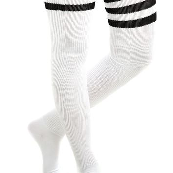 Vintage Deadstock American Apparel White With Black Thigh High Tube Socks