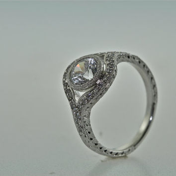 14kt White Gold and Diamond Art Deco Design Hand Engraved Engagement Ring