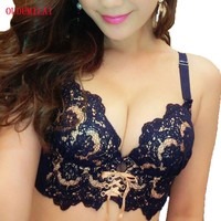 OUDOMILAI Fashion Hot Bra Set Adjusted Thick Small Chest Push Up Underwear Women Lace Embroidery Gather Lingerie Bra Brief Sets