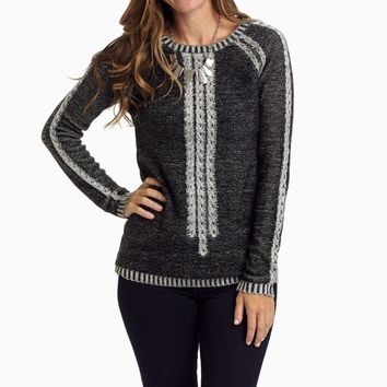 Black-Grey-Cable-Knit-Front-Sweater