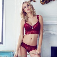 Fashion New Sexy Womens Lace Lingerie Set Underwear Push-Up Bra Underwire Outfits