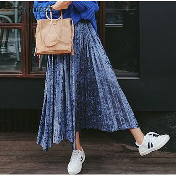 2017 New Autumn Winter Metallic Color Large Swing Long Pleated Skirt Women Gold Sliver Shinny Color Velvet Skirt