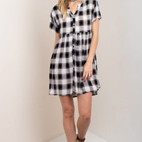 Lightweight Black Checkered Shirt Dress