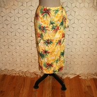Yellow Hawaiian Skirt Maxi Wrap Skirt Long Beach Skirt Palm Trees Beach Print Tropical Luau Skirt Sarong Liz Claiborne Small Womens Clothing