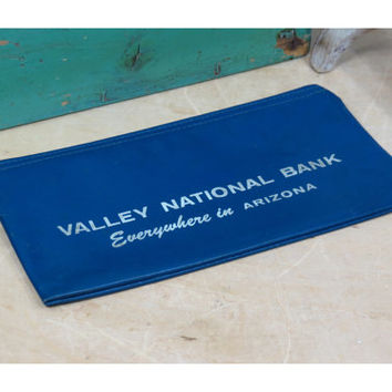 Vintage Zippered Bank Bag . Valley National Bank of Arizona . Vinyl Money Pouch . Defunct Bank Collectible