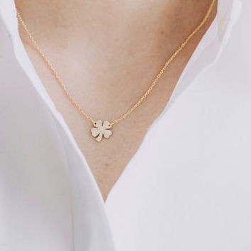 4 Leaf Clover Necklace, Lucky Irish necklace, Gold Shamrock Necklace, Silver Irish Lucky Necklace (18K Gold Plated, Silver Plated)