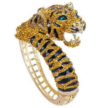 Tiger Rhinestone Bracelet & Bangle Austrian Crystal  Cuff For Women