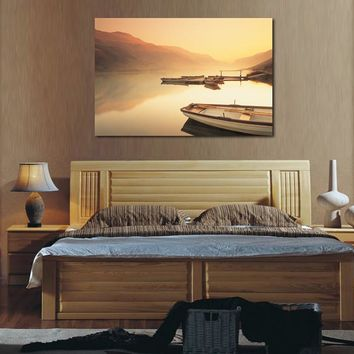 Decoracion Canvas Painting One Piece Canvas Wall Art Decorations Bed Room Headboard Painting Sailing Ships Sunset