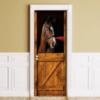 Sticker for Door / Wall / Fridge - Horse in Stall. Peel & Stick Removable Mural, Skin, Cover, Wrap, Decal, Poster