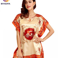 Summer Ladies Silk Nightgown Printed New Large Size Women's Sleep & Lounge New Style Orange Satin Nightgowns Sleepshirts