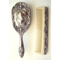 Vintage Hair Brush and Comb Silver Plated Floral Design