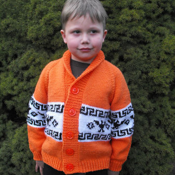 T-Bird Cardigan - Knitting pattern - Cowichan style sweater, Button-up sweater, child cardigan, jacket, toddler, child, unisex, native style