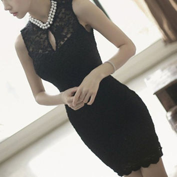 Cut Out Beaded Lace Mini Dress