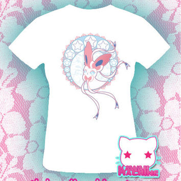 Kawaii Fairy Kei Pastel Sylveon Eeveelution Womens Shirt or Tote Size S through 2XL