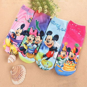 *  4pairs/lot New cotton men and women cartoon novelty socks boy kids  girl Mickey Mouse Minnie 3D printed Brand ankle socks