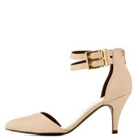 Nude Ankle Strap Pointed Toe Pumps by Qupid at Charlotte Russe