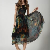 Printed Short Sleeve Chiffon A-line Pleated Maxi Dress