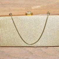 Vintage Gold Lame Clutch Purse Handbag Rhinestone Clasp Wedding Special Event Party Prom Gift for Her Christmas Holiday