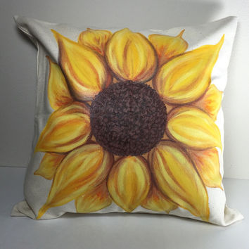 Sunflower Throw Pillow Cover Hand Painted