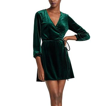 Elegant V-Neck Wrap Dress Women Winter Long Sleeve Velvet Dress Femme 2018 Short Party Dresses Robe Hiver