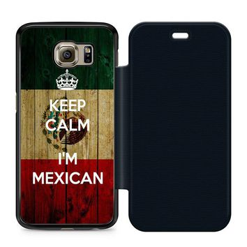 Keep Calm Mexican Leather Wallet Flip Case Samsung Galaxy S6