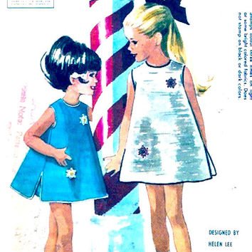 Girls dress bloomers 60s mod party frock with transfer vintage sewing pattern Size 5 McCalls 6793 Helen Lee