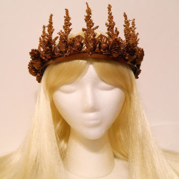 Copper & Gold Crown, Tiara, Princess, Queen, Woodland, Winter, Goddess, Myth, Fantasy, Headdress, Reign, Game of Thrones, Tribal, Rustic