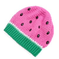Watermelon Crochet Slouch Beanie - Melon Womens & Unisex Hat with Rhinestone Seeds - Pink, Green and White Winter Headwear - Vegan Fruit Hat