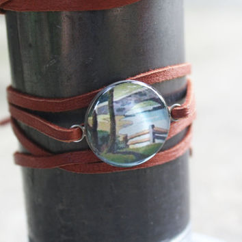Leather Wrap Bracelet, Paint by Number  - stream trees fence hill sterling silver resin charm on brown strap band - vintage ephemera jewelry