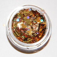 Solvent Resistant Glitter Mix: Gold and Copper Sparkle Mix 5 GRAM JAR. Raw Glitter Mix for Nail Polish and Nail Art
