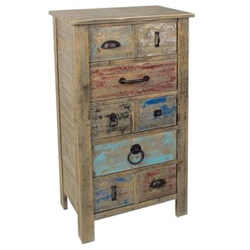 Lewiston Rustic 5 Drawer Different Hardware Tall Chest