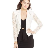 Material Girl Juniors' Lace Moto Jacket | macys.com
