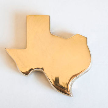 Vintage Brass TEXAS State shaped Paperweight, Texan Paper Weight, United States Desk Office Supply