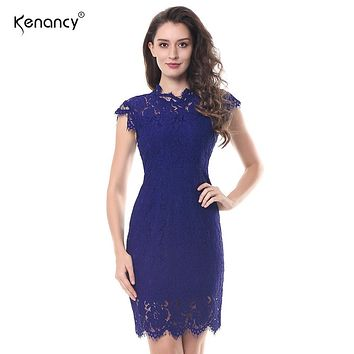 Kenancy 2XL Party Lace Dress Women Elegant Sleeveless Floral Eyelash Lace Bodycon Pencil Office Vestidos Silm 4 Colors