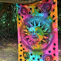 Montreal Tapassier Pink Tye Dye Sun Moon Tapestry Hippie Tapestry, Hippy Mandala Bohemian Tapestries, Indian Dorm Decor, Psychedelic Tapestry Wall Hanging Ethnic Decorative (Multi Color)