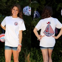 Marley Lilly White USA Sailboat Short Sleeve T-Shirt | Marley Lilly