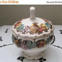 55% STORE WIDE SALE  Fruit Themed Sugar Bowl, Dated 1958, Excellent Vintage Condition
