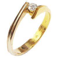 White Sapphire Engagement Ring, Tention Swing Design, 18K Yellow Gold