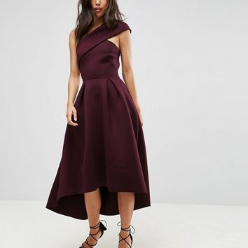 ASOS One Shoulder Foam Scuba Dip Back Midi Skater Dress at asos.com