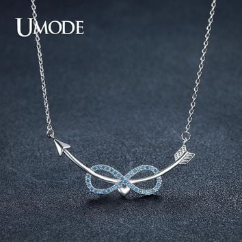 UMODE Fashion Lake Blue Austria Rhinestone Arrows Infinity Heart Pendant Necklaces for Women  Love Gifts Crystal Pulseras UN0242