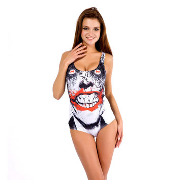 White Bloody Mouth Print Swimsuit